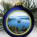 Lake Tahoe Ornament with hand-painted highlights.